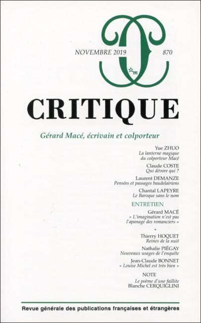 REVUE CRITIQUE N.870  -  NOVEMBRE 2019  -  GERARD MACE, ECRIVAIN ET COLPORTEUR