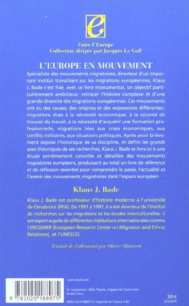 Europe en mouvement. la migration de la fin du xviiie siecle a nos jours (l')