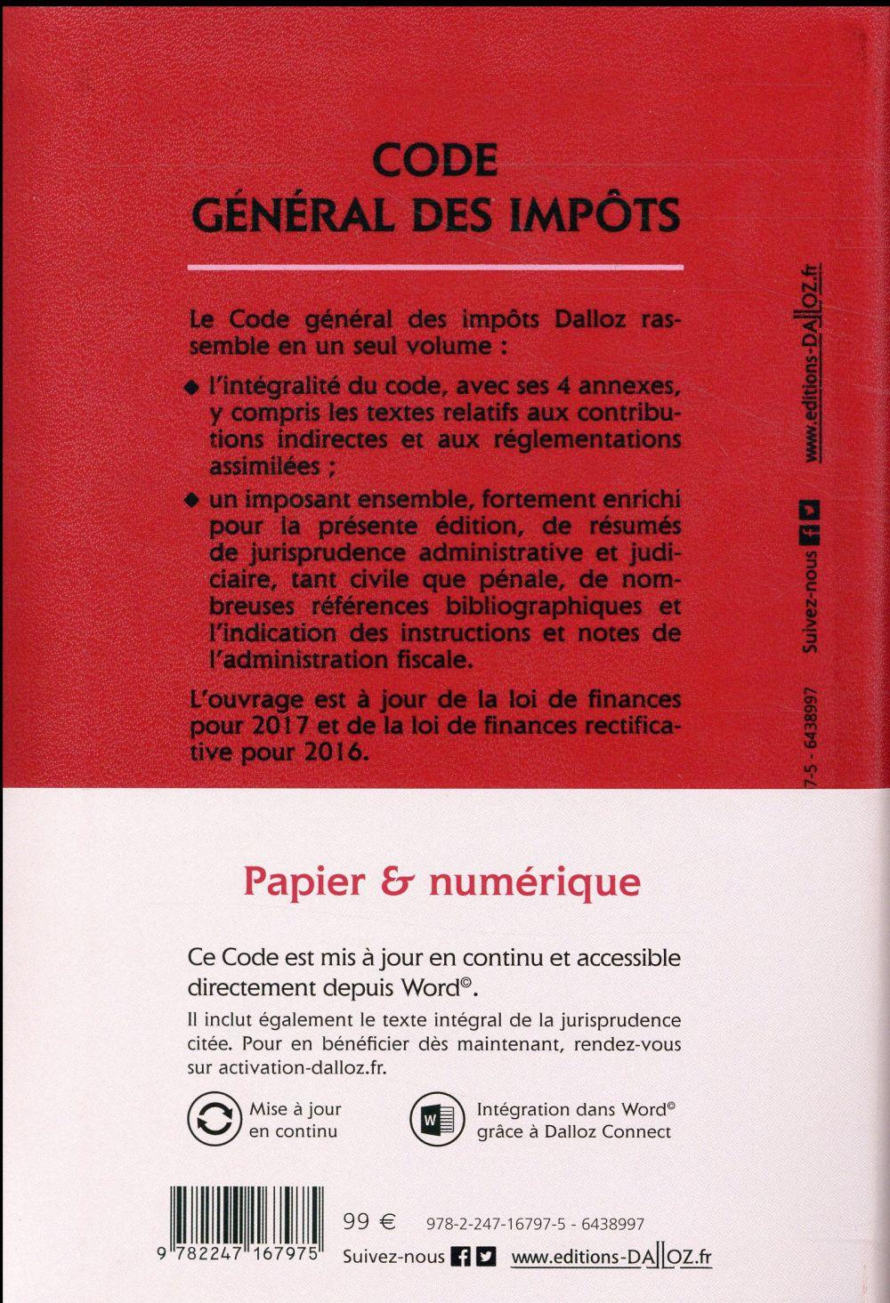 code général des impôts ; annoté (édition 2017)