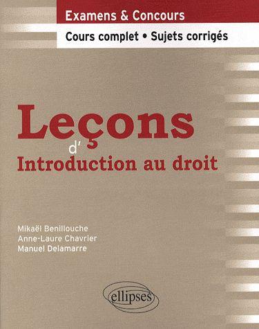 Lecons D'Introduction Au Droit Cours Complet Sujets Corriges Examens & Concours