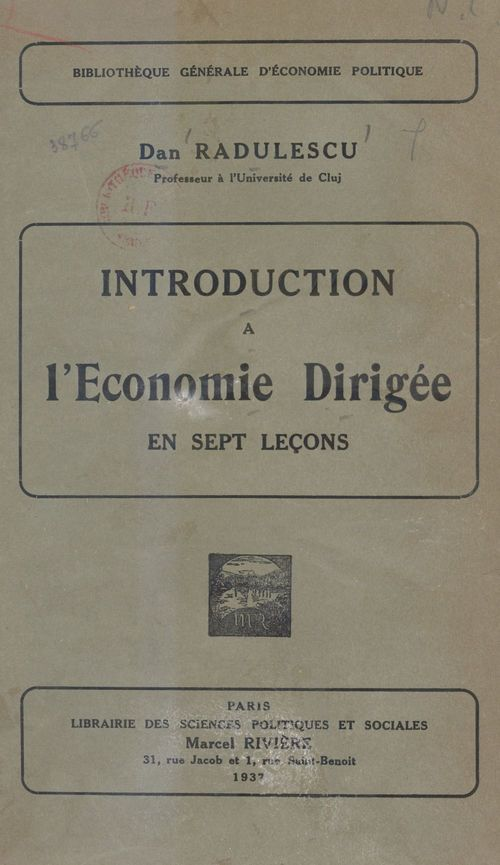 Introduction à l'économie dirigée en sept leçons