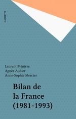 Vente EBooks : Bilan de la France (1981-1993)  - Anne-sophie Mercier - Agnès Audier - Laurent Ménière - Meniere