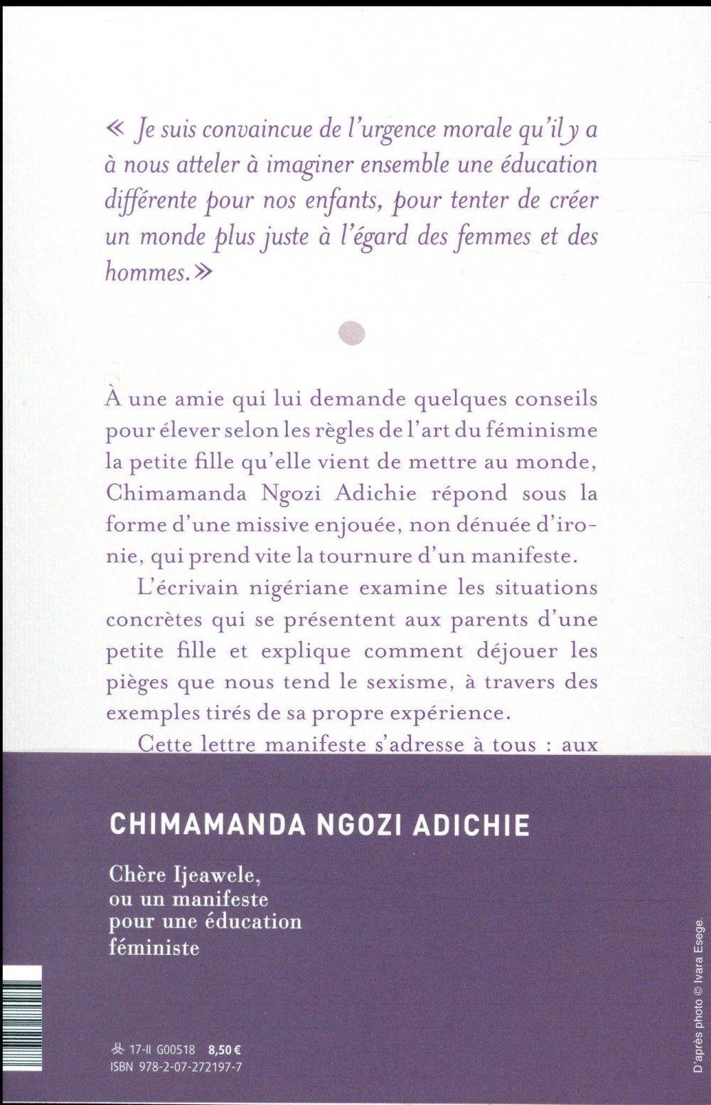 Chère Ijeawele, ou un manifeste pour une éducation féministe