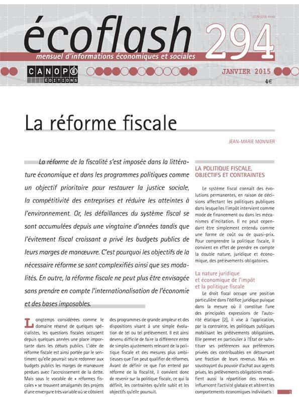 Ecoflash n.294 ; la reforme fiscale