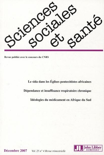 Sciences sociales et sante - decembre 2007 vol.25 no4
