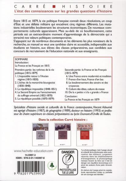 de la monarchie à la République ; 1815-1879 (2e édition)