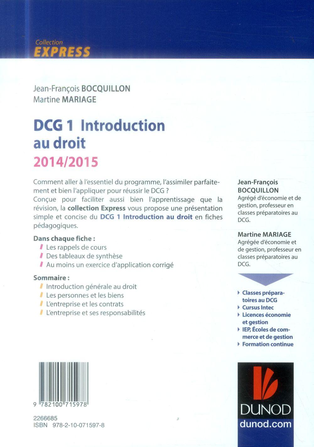 Dcg 1 ; introduction au droit ; 2014/2015 ; l'essentiel en fiches
