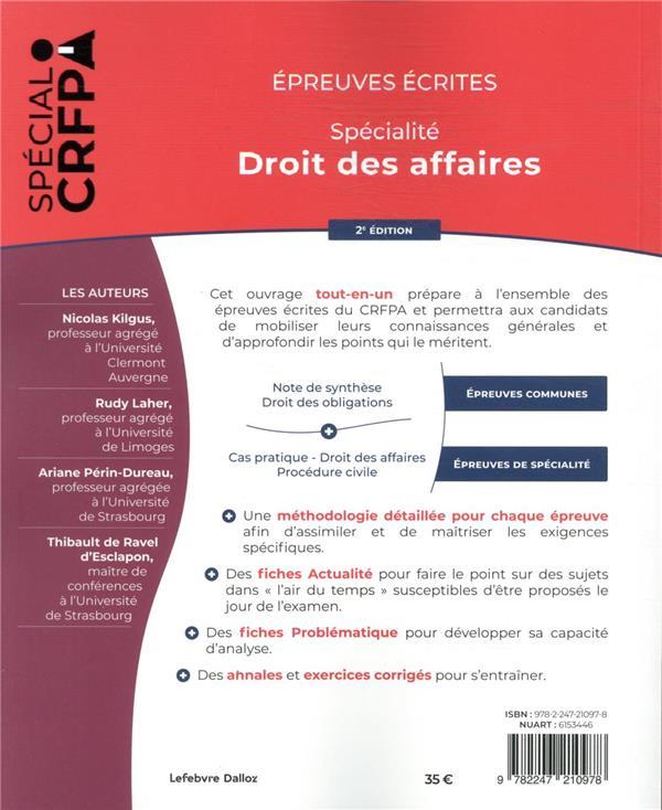 épreuves écrites du CRFPA : spécialité droit des affaires (édition 2021)