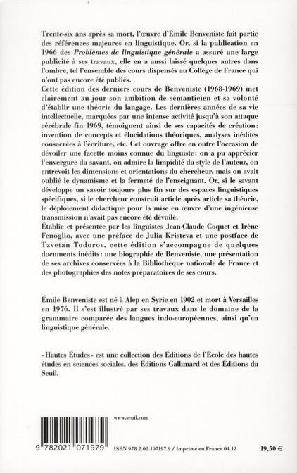 dernières leçons ; Collège de France, 1968 et 1969