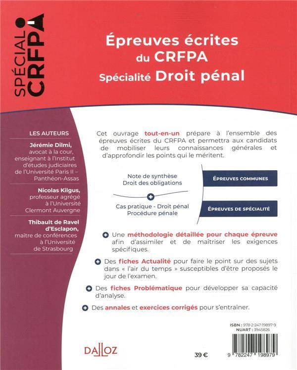 épreuves écrites du CRFPA ; spécialité droit pénal