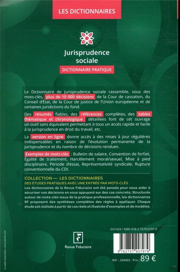 dictionnaire jurisprudence sociale (édition 2020)