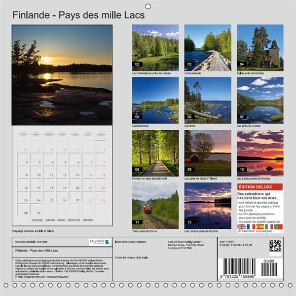 Finlande ; pays des mille lacs (calendrier mural 2017 Square)
