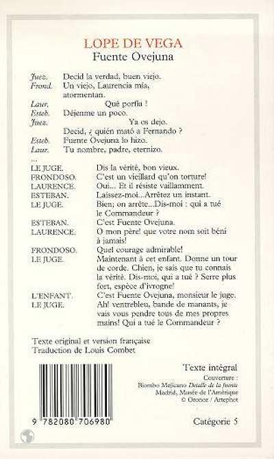 Fuente ovejuna - - texte etabli, presente et traduit - bilingue espagnol