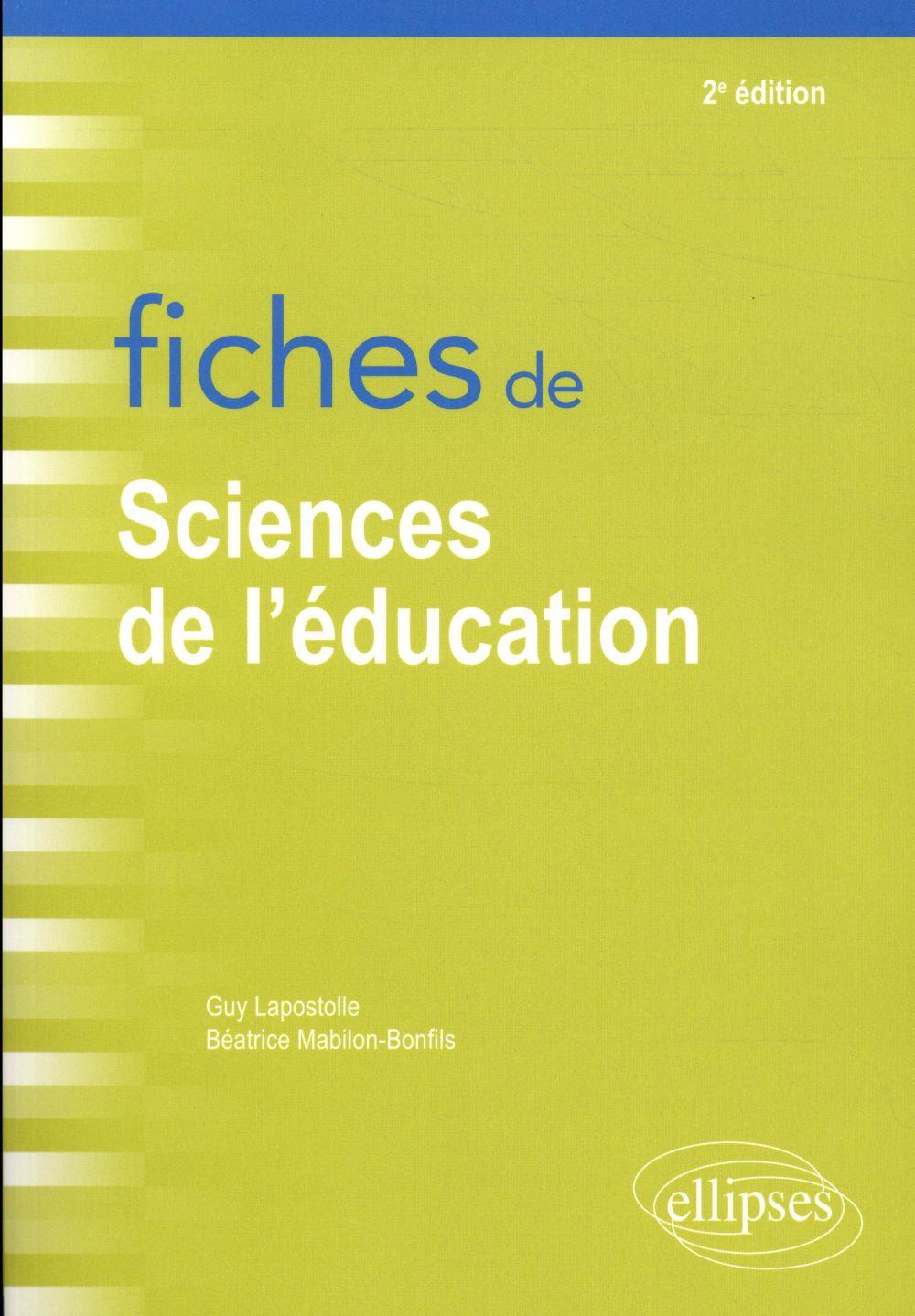 fiches de sciences de l'éducation ; rappels de cours et exercices corrigés (2e édition)