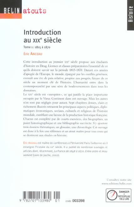 Introduction au XIXe siècle t.1 ; 1815 à 1870