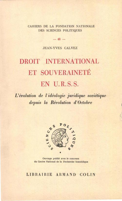 Droit international et souveraineté en URSS