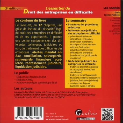 L'essentiel du droit des entreprises en difficulté (3e édition)