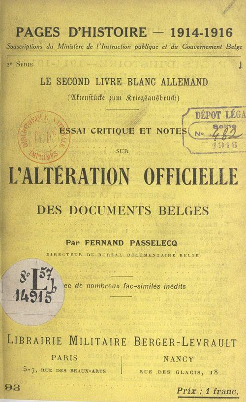 Le second livre blanc allemand  - Fernand Passelecq