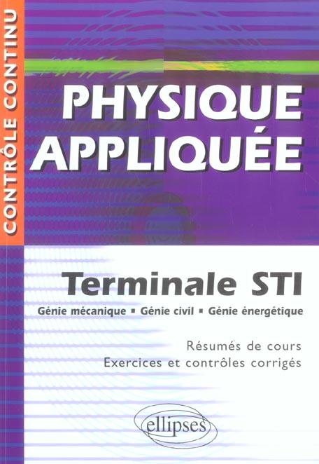 Physique Appliquee Terminale Sti Genie Mecanique Genie Civil Genie Energetique Resumes De Cours