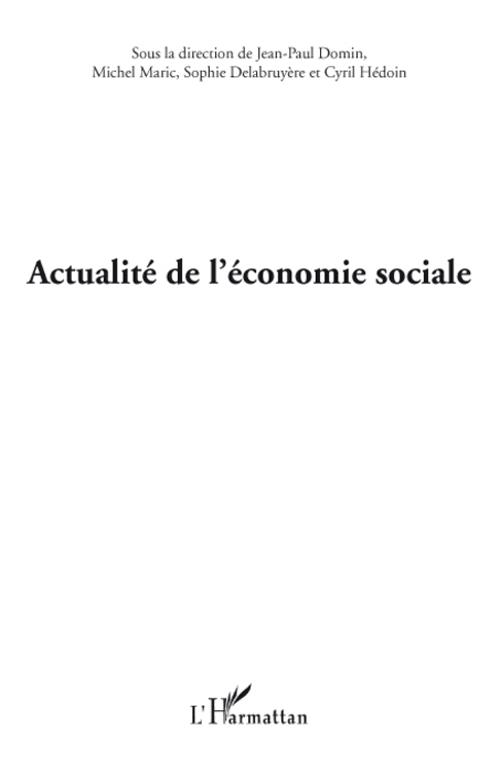 Actualite De L'Economie Sociale