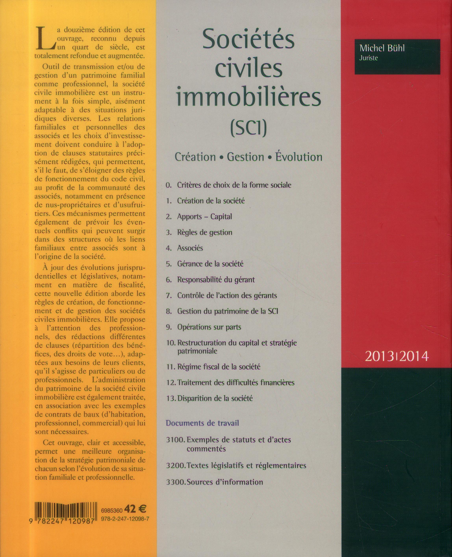 Sociétés civiles immobilières ; création, gestion, évolution (édition 2013/2014)