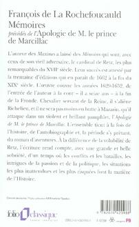 Mémoires ; l'apologie de m. le prince de marcillac