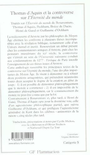 Thomas d'aquin et la controverse sur l'eternite du monde