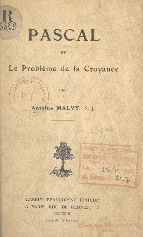 Pascal et le problème de la croyance