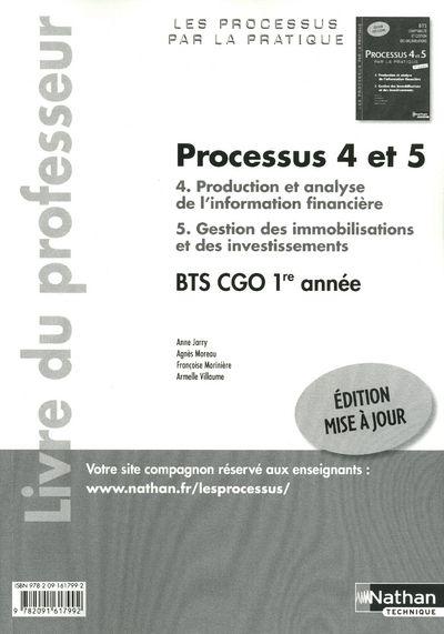 Processus 4/5 ; Bts 1 Cgo 1ere Annee ; Livre Du Professeur (Edition 2011)