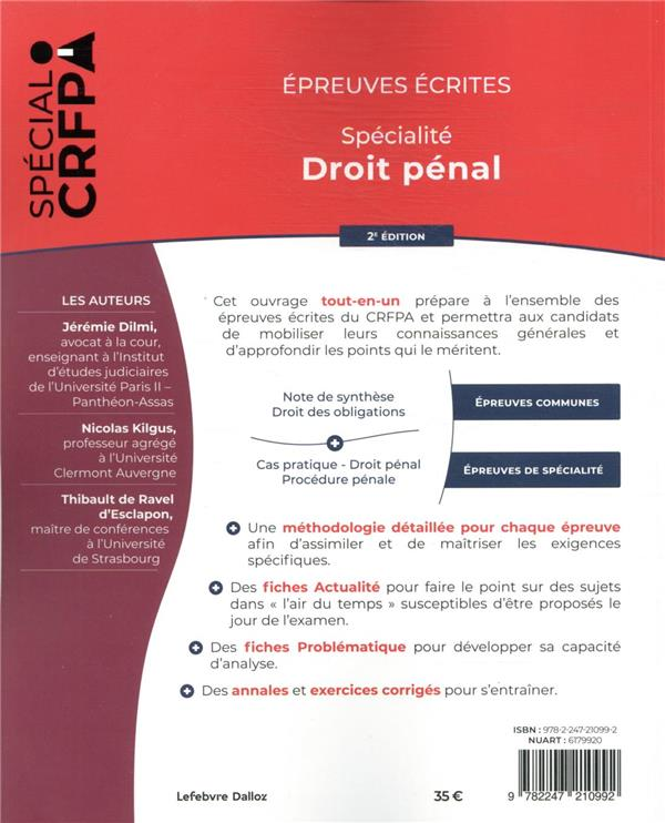épreuves écrites du CRFPA : spécialité droit pénal (édition 2021)