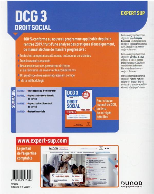 DCG 3 : droit social ; manuel (édition 2021/2022)