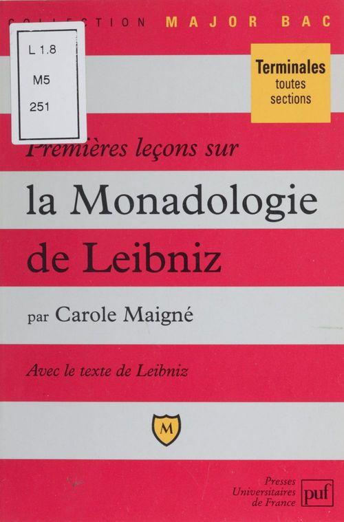 Premières leçons sur la monadologie de Leibniz