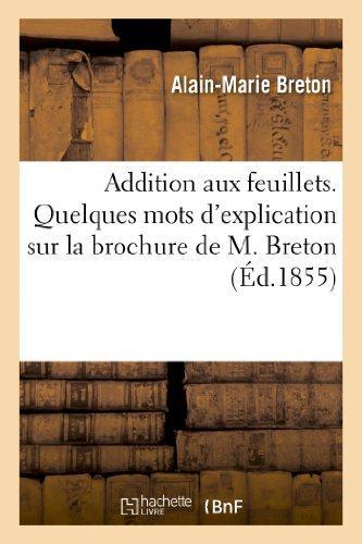 Addition aux feuillets. quelques mots d'explication sur la brochure de m. breton intitulee - : feuil