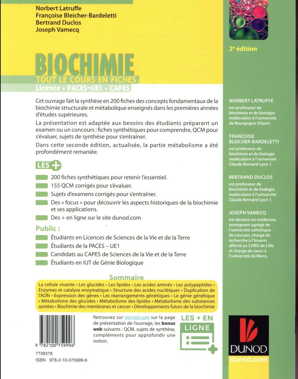 Biochimie ; tout le cours en fiches (2e édition)