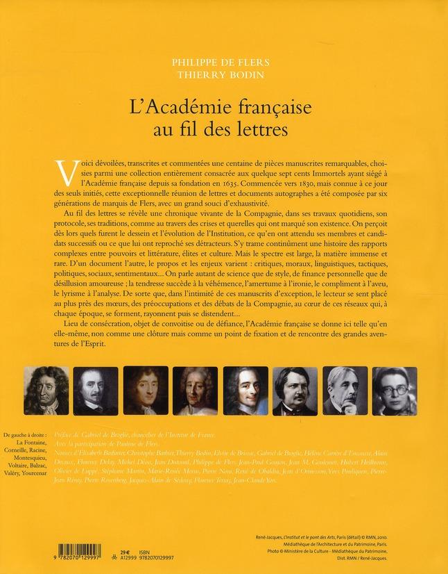 L'Académie francaise au fil des lettres (de 1635 à nos jours)