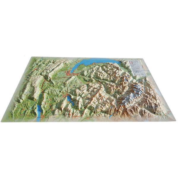Carte en relief de la Haute Savoie version été