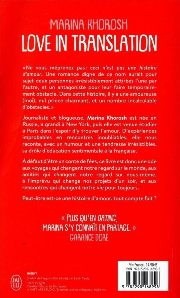 love in translation ; journal d'une célibataire cosmopolite à Paris