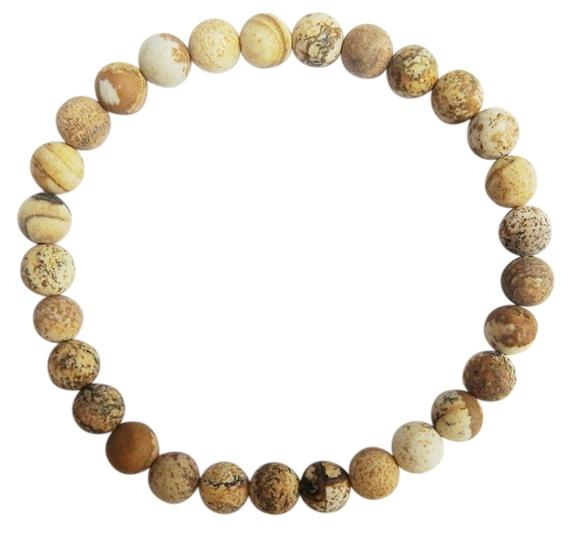 Bracelet jaspe paysage perles rondes 6 mm mates