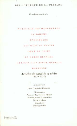 oeuvres t.1 ; la garde blanche ; nouvelles, récits, articles de variétés