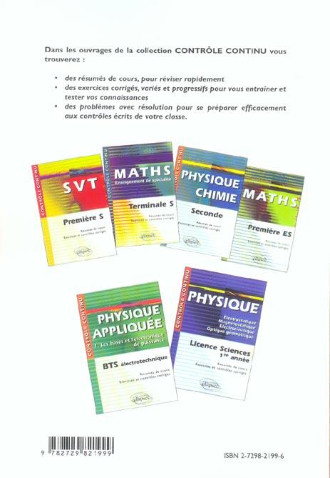 Contrôle continu ; physique appliquée t.2 ; puissances, machines ; BTS électrotechnique
