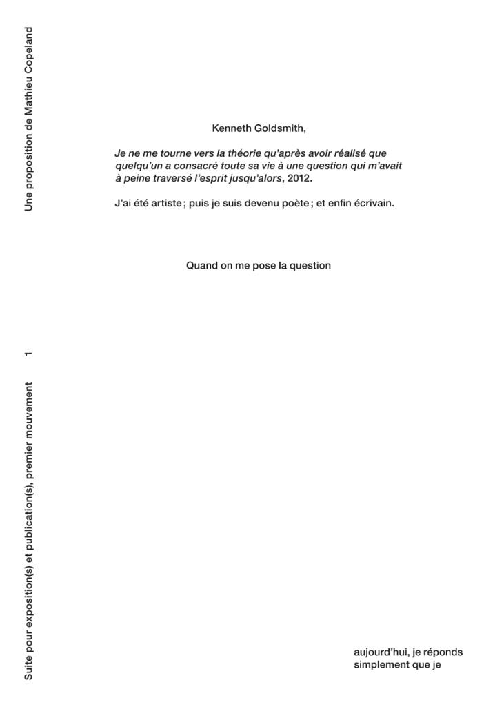 SUITE POUR EXPOSITION(S) ET PUBLICATION (S), PREMIER MOUVEMENT