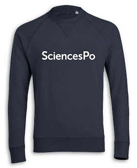 SWEAT COL ROND SCIENCES PO (EXTRA-SMALL) BLEU MARINE BRODÉ COTON BIO