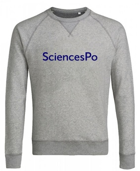SWEAT COL ROND SCIENCES PO (EXTRA-LARGE) GRIS CHINÉ COTON BIO