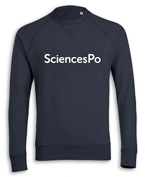 SWEAT COL ROND SCIENCES PO (EXTRA-LARGE) BLEU MARINE BRODÉ COTON BIO