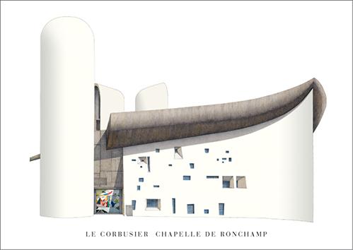 LE CORBUSIER - LA CHAPELLE DE RONCHAMP 50*70