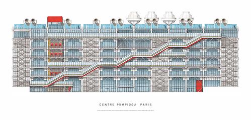 CENTRE POMPIDOU PARIS AFFICHE, 47X100