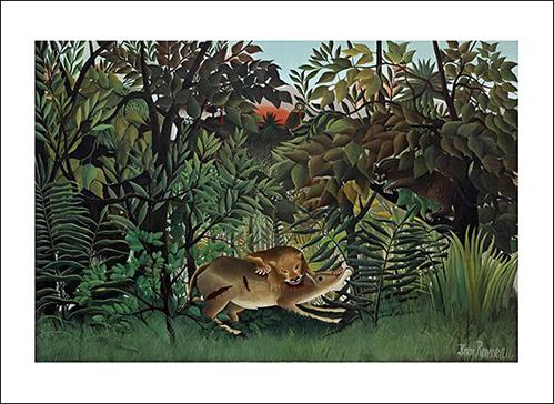 ROUSSEAU, LE LION AYANT FAIM SE JETTE SUR L'ANTILOPE, 60X80