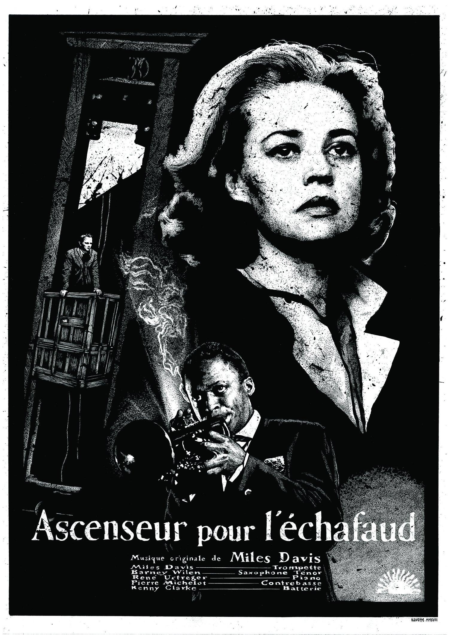 AFFICHE SÉRIGRAPHIÉE // MILES DAVIS - ASCENSEUR POUR L'ÉCHAFAUD (50 X 70)