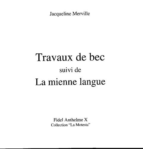 TRAVAUX DE BEC